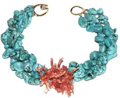 Helga Wagner Large Turquoise Nuggets with Red Branch Coral and tiffany clasp.