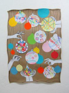 Vánoční koule - koláž, dekorace koulí - vlnovka šablona, pastelky kolage výtvarná výchova elementary art Triptych, Art Education, Advent Calendar, Holiday Decor, Petra, Home Decor, Artist, Tri Fold Brochure, Decoration Home