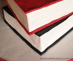 Stacked Book Cake How-to Cupcakes, Cupcake Cakes, Cupcake Ideas, Cake Decorating Tutorials, Cookie Decorating, Bible Cake, Cake Shapes, Book Cakes, Fondant Tutorial