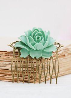 Mint Green Rose Hair Comb