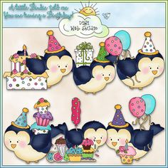 Bitty Birdies Birthday 1 - NE Cheryl Seslar Clip Art : Digi Web Studio, Clip Art, Printable Crafts & Digital Scrapbooking!