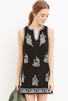 Embroidered Gauze Shift Dress | Forever 21 - 2000178969