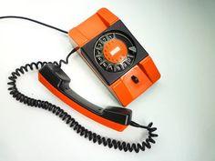 Vintage Orange Rotary Phone 80s Dial Telephone by EuroVintage