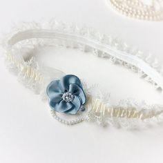 Something Blue Wedding Garter with Romantic by BlueLilyMagnolia