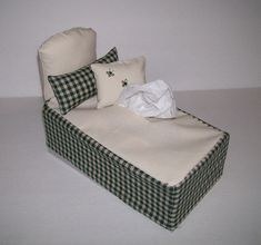 Bed Shaped , Tissue Box Cover , 2 Matching Pillows , Green/Tan , Novelty Item , Fabric Craft , Home Decor , Whimsical , Shipping Included!