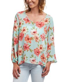Look at this 2 Hearts Mint Sheer Floral Scoop Neck Top on #zulily today!