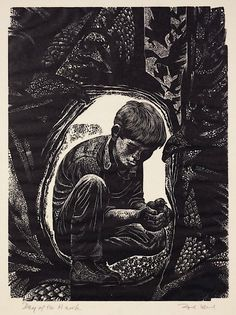 Day of the Hawk, Wood engraving by Lynd Ward
