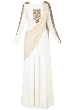 White embroidered drape dupatta anarkali available only at Pernia's Pop Up Shop.