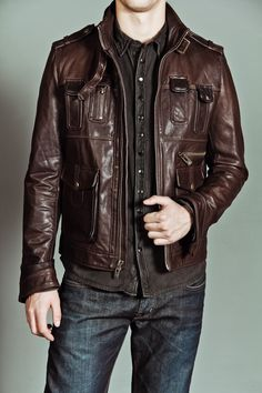 Mid thigh length leather jacket. Very versatile style. Earth Brown ...