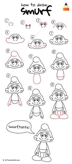 How to draw smurf easy cartoon characters, doodle drawings, easy cartoon drawings, disney Cute Easy Drawings, Easy Cartoon Drawings, Doodle Drawings, Animal Drawings, Pencil Drawings, Drawing Animals, Simple Disney Drawings, Drawing Disney, Drawing Tutorials For Kids