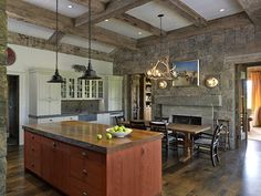 Breathtaking traditionally styled mountain home in Jackson Hole Traditional Interior, Traditional Kitchen, Timber Architecture, Montana Homes, Custom Fireplace, Jackson Hole, Jackson Wyoming, Cabin Interiors, Shed Homes