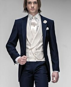 Discount Morning Style Navy Blue Groom Tuxedos Best Man Peak Lapel Groomsmen Men Wedding Suits Bridegroom Jacket+Pants+Tie+Vest From China | Dhgate.Com