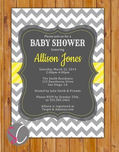 Baby Shower Invitation Grey Yellow White Chevron by scadesigns, $16.00
