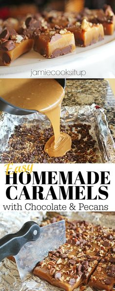 Caramels with Chocolate and Pecans from Jamie Cooks It Up! This is a super easy way to make caramels. Give them a try this holiday season. Just Desserts, Delicious Desserts, Dessert Recipes, Holiday Baking, Christmas Baking, Toffee, Yummy Treats, Sweet Treats, Homemade Candies
