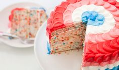 Set Off Fireworks With Our Red, White and Blue Ombre Funfetti Cake