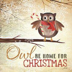 MA684  Owl be home for Christmas by ArtByMarlaRae on Etsy, $19.98
