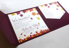 Pocketfolder Karten. Einladungskarten für Hochzeit mit Herbst Motiv
