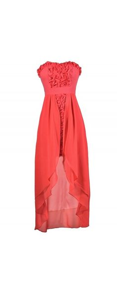 Bed Of Rosettes Textured High Low Dress in Coral www.lilyboutique.com