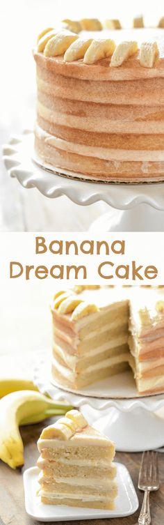 Banana Dream Cake with cinnamon cream cheese frosting!