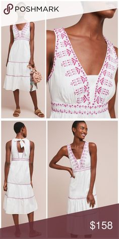 8874064e10a8 NWT, Anthropologie, Selena Embroidered Swing Dress Cotton V-neck Embroidered  detail Side slant