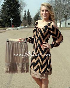 Beige skirt extender/ lace slip Great idea for so many too short dresses!