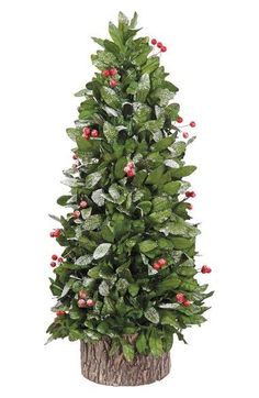 "- Snow-dusted leaves and bright berries make this topiary a festive and rustic addition to your holiday décor. - 41"" length. - Textile/plastic/synthetic materials. - Spot clean. - By ALLSTATE; importe"