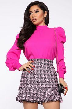No Bad Days Blouse - Fuchsia – Fashion Nova Boring Day, Hot Pink Tops, No Bad Days, Work Casual, Mock Neck, Smocking, Mini Skirts, Nova