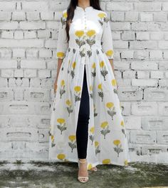 Yellow & White Cotton Printed Cape