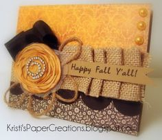 Warm, elegant, sweetly beautiful autumn card. #card #scrapbooking #fall #autumn #flowers #handmade