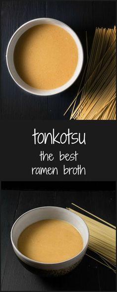 Make this tonkotsu broth for the best ramen ever. Make this tonkotsu broth for the best ramen ever. Ramen Recipes, Asian Recipes, Cooking Recipes, Best Ramen Recipe, Recipe For Ramen Broth, Japanese Broth Recipe, Ramen Soup Base, Gastronomia, Gourmet