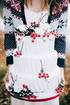 Winter Wedding Cake with Frosted Berries | Nicole Colwell Photography | Festive Styled Wedding in the Winter Woods - with a Corgi in a Holiday Sweater!