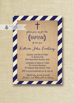 Shabby Chic Boy Baptism Invitation Burlap Navy Blue Stripes Rustic Christening Naming Dedication DIY Printable Digital or Printed- Courtney Christening Invitations Boy, Christening Party, Baptism Party, Baby Party, Baptism Ideas, Faire Part Invitation, Invitation Design, Printable Invitations, Party Invitations