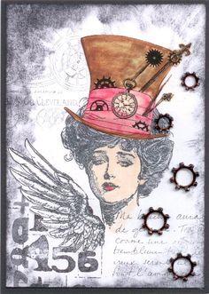 Mixed-Media-Mittwoch - Hut, Hüte, Steampunk-Zylinder . mit Motivstempeln Just Stamps Design Collection u. a. - Idee und Umsetzung Daniela Rogall