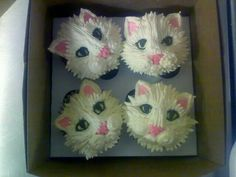 Kitty face cupcakes using the grass tip for the fur and 18 tip for the swirl