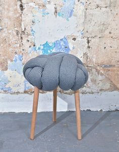 Knot stool in Blue & grey stripes, design chair, modern chair, industrial stool…