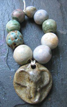 Handmade Ceramic Beads & Elephant Pendant Charm Set by Grubbi, $15.00