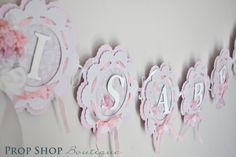 The Works Birthday Banners, Special Occasion, name banner, nursery decor, high chair banner, photo prop. $65.00, via Etsy.