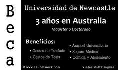Beca en Universidad Newcastle, Australia. Más info en: http://www.e1-network.com/notibecas/pre-beca.html