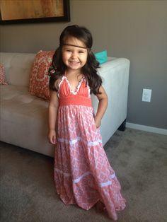 Bohemian style toddler maxi dress. Little girl fashion. Toddler style