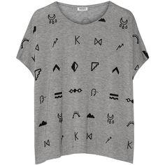 KENZO Symbols printed jersey T-shirt ($145) ❤ liked on Polyvore featuring tops, t-shirts, shirts, blusas, grey, short shirts, dolman sleeve t shirt, print t shirts, gray t shirt and short t shirt