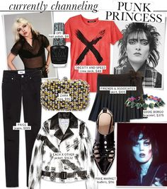 Punk's Princesses Inspire: Blondie, Joan Jett, Siouxsie Soux | OPI - Black Shatter ($9) | Obesity and Speed - Red X Tee ($48) | Friends & Associates - Ally Pleated Skirt ($105) | Eddie Borgo - Lotus Cone Bracelet ($375) | Pixie Market - Raider Loafers ($116) | Each X Other - Leather Biker Jacket ($1632) | Zara - Sequined Evening Bag ($90) | Paige - Verdugo Skinny Jeans ($199)