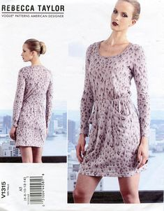 VOGUE 1315 DRESS Pattern Long Sleeves Dress with Pockets Rebecca Taylor Vogue American Designer UNCuT Womens Sewing Patterns Size 6 - 14
