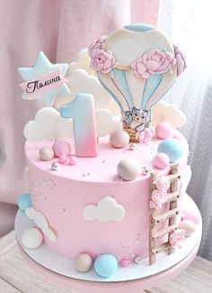 1st Birthday Cake For Girls, Cute Birthday Cakes, Beautiful Birthday Cakes, Beautiful Cakes, Amazing Cakes, Cake Designs For Girl, Bolo Barbie, Girl Cakes, Cute Cakes