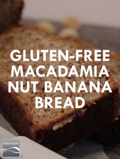 You'll go nuts for this Gluten-Free Macadamia Nut Banana Nut Bread. Gf Recipes, Gluten Free Recipes, Real Food Recipes, Cooking Recipes, Yummy Food, Dessert Recipes, Healthy Recipes, Gluten Free Baking, Gluten Free Desserts