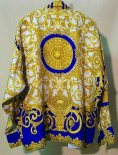 125bfdf438d5 Men's Vintage Versace Classic V2 100% Silk Yellow/Blue Silk Shirt sz ...
