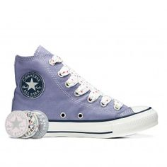 <3 Violet Chuck Taylor Converse <3 - All Star Hi Patches ~ yes please!