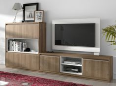 Mueble de salón en acacia y blanco Tv Stand Designs, Rack, Small Living Rooms, Ikea Ideas, Furniture, Home Decor, Model, Dining Room Furniture, Tv Unit Furniture