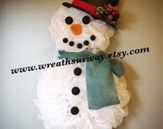 Snowman Deco mesh Wreath Winter Christmas by WreathsUrWay on Etsy