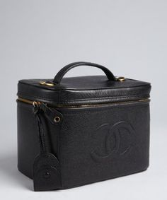 021ef8bcf9d9 Chanel   black caviar leather vintage travel case