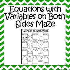 Solving Equations with Variables on Both Sides Activity | Coloring ...